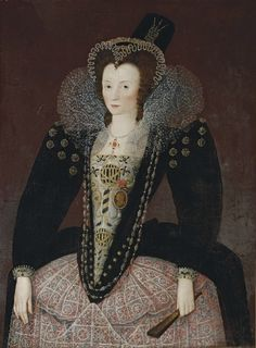 Circle of Marcus Gheeraerts II (Bruges 1561-1635/6 London)  Portrait of a lady, traditionally identified as Lady Denman, three-quarter-length, in a black velvet dress with an embroidered bodice and lace apron, with a lace ruff, jewelled headdress and hat, holding a fan