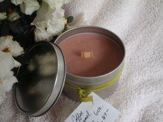 Caramel Coffee Cream Wood Wick Candle in Tin 6 by CherryOakCandles, $8.99