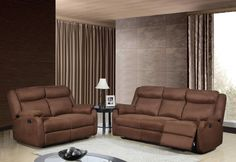 Contemporary Chocolate Microfiber Living Room Set w/Padded Headrests