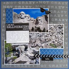 Mountain goat Mount Rushmore scrapbook page from cross-country road trip.