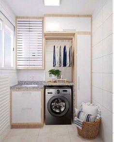 Laundry Decor, Small Laundry Rooms, Laundry Room Storage, Laundry Room Design, Home Room Design, Bathroom Interior Design, House Design, Laundry Closet, Landry Room