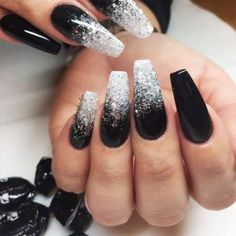 There are three kinds of fake nails which all come from the family of plastics. Acrylic nails are a liquid and powder mix. They are mixed in front of you and then they are brushed onto your nails and shaped. These nails are air dried. Black Ombre Nails, Black Nails With Glitter, Dark Color Nails, Black Silver Nails, Nail Black, Silver Ombre, Matte Black, Gold Glitter, Silver Sparkle Nails
