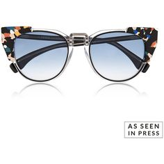 Fendi Contrast Tip Cat Eye Sunglasses (€435) ❤ liked on Polyvore