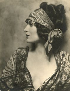 My character Frances (Frannie) Hazel (1920's silk head scarf.)