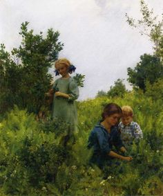 Charles Courtney Curran. Blueberries and ferns; ca 1911 by Charles Courtney Curran (1861–1942)