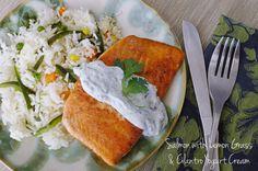 Salmon with Lemon Grass & Cilantro Yogurt Cream