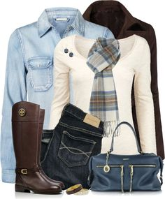 Brown, Blue, Plaid Fall Outfit
