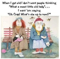 """When I get old...I don't want people thinking """"What a sweet little old lady"""" . . .I want 'em saying, """"Oh crap! What's she up to now?"""" ; )"""