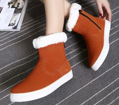 Warm Fur Round Toe Women Ankle Snow Boots