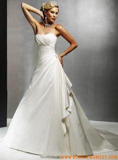 Robe de mariée princesse Taffetas Traine Chapelle Luxueux Col En Coeur