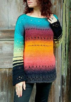 Colorful Sweater Chunky Ombre Sweater Multicolor Tunic