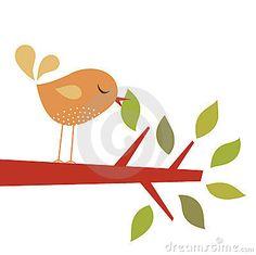Vector illustration of bird and tree