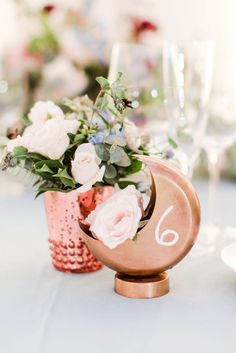 Moon-Shapped Table Number and Vase // Blue, Black, & White Modern Elegant Wedding Ideas via TheELD.com Unique Table Numbers, Gold Table Numbers, Wedding Table Numbers, Wedding Reception Decorations, Wedding Costs, Wedding Dinner, Wedding Vendors, Elegant Wedding, Wedding Day