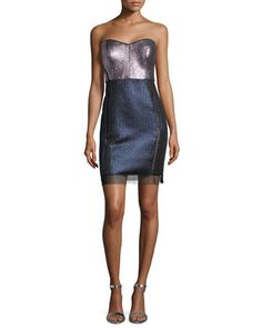 Strapless Sweetheart Metallic Colorblock Dress  by Phoebe Couture at Neiman Marcus.
