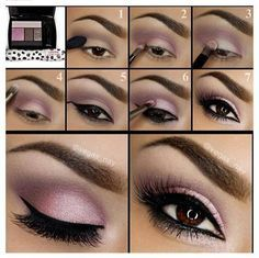 Pink Eyeshadow   Eyeshadow Tutorials for Brown Eyes -    How To Make Eyes Look Sexy And Dramatic by Makeup Tutorials at http://makeuptutorials.com/12-colorful-eyeshadow-tutorials-brown-eyes/