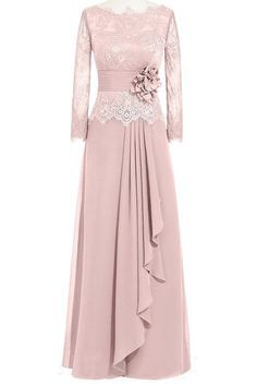 ORIENT BRIDE Women Lace Chiffon A-Line Formal Evening Dresses with Long Sleeves at Amazon Women's Clothing store: