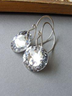 Earrings - vintage Swarovski crystal, sterling silver - Aurora.