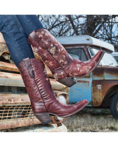 Lucchese Women's Gardenia Floral Boot - Red Oklahoma