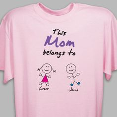 #MothersDay This Mom Belongs To Personalized Mother's Day T-Shirts. This Personalized T-shirt is also perfect for Mom, Aunt, Sister, Gram, Granny or Nana. It is sure to be a hit on Mother's Day, Grandparents Day or for her special birthday. Celebrate the love she shares with the entire family by giving this attractive Personalized T-shirt and a warm hug. Our Personalized T-shirt is available on our premium white cotton/poly blend Personalized T-Shirt, machine washable in