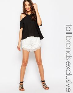 Vero Moda Tall Lace Trim Shorts
