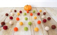 Autumn Garland, Fall Garland, Fall Decoration, Thanksgiving Garland, Felt Ball…