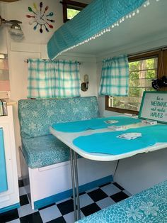 Custom order bench seat covers that transform your trailer | Etsy Vintage Camper Interior, Rv Interior, Home Depot, Cheap Campers, Camper Table, Camper Cushions, Camping Trailer For Sale, Camper Curtains, Bench Seat Covers