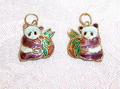 Cute Cloisonne Panda Duo Pendants  Package of by JerseyShoreBeads, $2.50