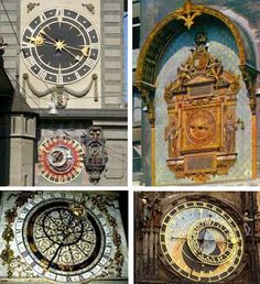 The medieval clockmakers reached a great perfection. From the top left, clockwise, the town clocks of Bern (Switzerland), Paris, Prague and Strasbourg (France)