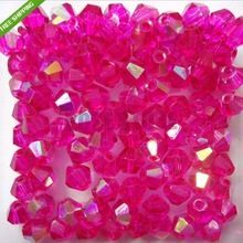 Aaa qualité 4 mm perles de cristal de verre, Gros 1200 pcs/lote Hot rose AB toupie perles de fabrication de bijoux livraison gratuite(China (Mainland))