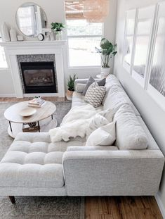 Sven Birch Ivory Right Sectional Sofa Sven Birch Ivory Right Sectional Sofa Make An All White Space Work By Mixing In Different Patterns And Textures Photo By Domestic Blonde Sofa Mcmsofa Midcenturymodern Cozy Living Rooms, Living Room Interior, Apartment Living, Home And Living, Modern Living Room Decor, Small Living Room Sectional, White Apartment, White Living Room Furniture, Condo Living Room