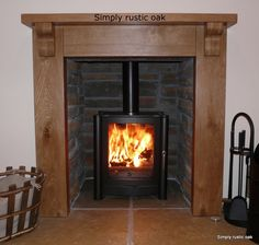 Our handmade rustic oak country cottage fire surround is handcrafted to order from solid oak and available in a choice of 4 colours. Oak Fire Surround, Rustic Fireplaces, Log Burner, Log Homes, Rustic Furniture, Hearth, Rustic Wood, Home Appliances, Cottage