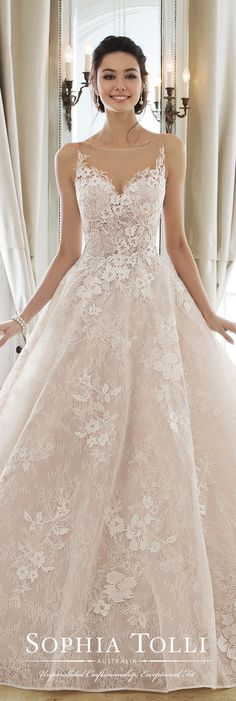 Sophia Tolli bridal gowns provide both classic and couture designs including strapless ball gowns, A-line dresses, halters and slim skirts. Wedding dresses with Sophia's signature. Wedding Dress Cinderella, Sweetheart Wedding Dress, Princess Wedding Dresses, Dream Wedding Dresses, Bridal Dresses, Wedding Dress 2018, Latest Wedding Gowns, Wedding Dressses, Blush Dresses