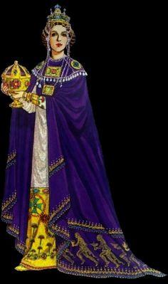 """...por ocultar la silueta corporal. Sus lujosos vestidos de seda se encontraban adornados con pedrerías y espléndidos bordados de oro. Collares de perlas, esmeraldas y rubíes ornaban su esbelto cuello y, para las ceremonias lucía una pesada corona de oro cargada de cadenas de perlas y esmeraldas que le legaban hasta el pecho""""(historia-del-vestido.blogspot.com.es). *14*  Imagen: GOOGLE; Fuente:historia-del-vestido.blogspot.com.es"""