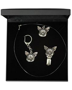 NEW, Chihuahua Smoothhaired, dog keyring, necklace and clipring in casket, DELUXE set, limited edition, ArtDog * More info could be found at the image url.