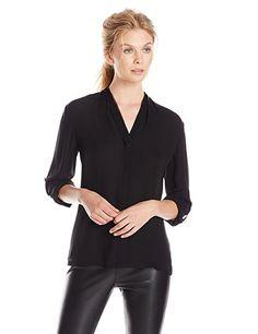 NWT Elie Tahari Womens 100% Silk Chiffon Long Sleeved V-Neck Blouse/Shirt -Black   eBay