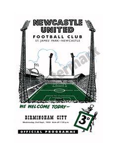 Newcastle United Football Club Programme Print Season 1959 reprint Sunderland Football, Newcastle United Football, Football Program, White Stuff, Birmingham, Programming, Army, The Unit, Seasons