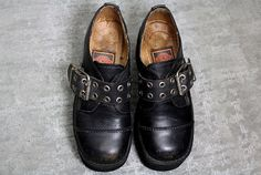 Vtg 80s Black Leather Monster Chunky Platform Brogues Creepers 8 8.5.