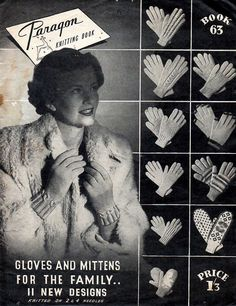 1940s Vintage Knitting Patterns for Gloves & by BessieAndMaive