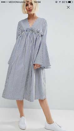Browse online for the newest ASOS WHITE Ruffle Yoke Bell Sleeve Midi Dress styles. Shop easier with ASOS' multiple payments and return options (Ts&Cs apply). Linen Dresses, Cotton Dresses, Midi Dresses, Simple Dresses, Casual Dresses, Summer Dresses, Modest Fashion, Fashion Dresses, Mode Kimono