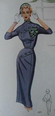 Modes Royale 50s pencil dress sheath blue button front belt scarf wiggle hat color illustration vintage fashion style
