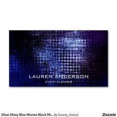 Glam Shiny Blue Marine Black Minimalism Vip Pack Of Standard Business Cards