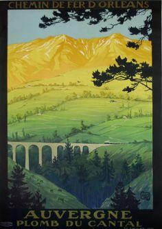 chemin de fer d'orléans - Auvergne - plomb du Cantal - 1923 - illustration de Hallo -