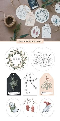 I created this set of gift tags based on a few of my recent holiday greeting card designs. I am offering them to you as a free printable as a thanks for following along, encouraging me, and in turn, i