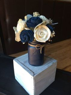 Navy Mason Jar Centerpiece Sola Flower Wedding With Flowers Decor