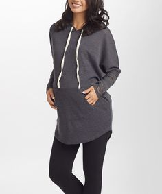 Loving this PinkBlush Charcoal Crochet-Cuff Hooded Knit Maternity Top on #zulily! #zulilyfinds