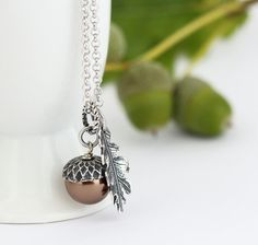 Dark Bronze Pearl Acorn Necklace With Antique Silver Oak Leaf Charm on Rhodium Plated Sterling Silver Chain
