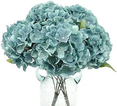 Amazon.com : blue hydrangea artificial flowers Fake Flowers, Artificial Flowers, Colorful Flowers, Wheat Wedding, Hydrangea Arrangements, Gift Table, Blue Hydrangea, Planting Flowers, Wedding Bouquets