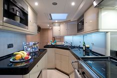 A lacquered kitchen - the first ever on an Oyster Yacht © Hill House Interiors