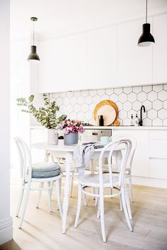 There's little doubt that one of the biggest tile trends recently is hexagon shaped tiles or 'hex tiles' for short. While the classic good looks of the metro tile remains a firm favourite, could the hex tile be hot on it's … Decor, Scandinavian Kitchen, Home Decor Styles, Tiles, Tile Trends, Black Tiles Kitchen, Home Decor, Kitchen Styling, Hex Tile