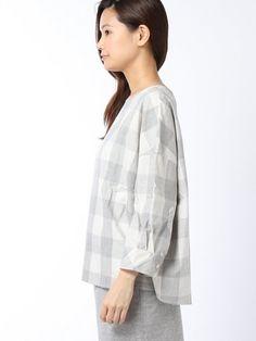 【ブロックチェックC/Nシャツ】ナチュラルカラーのブロックチェック柄が爽やかなイメージ作りにぴ…